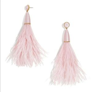 New Baublebar chateau feather tassel earrings pink